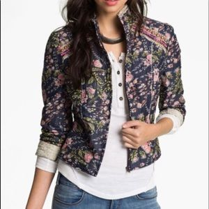 FREE PEOPLE Meadow Quilted Floral Cropped Jacket